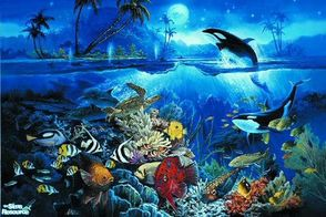 Sims 2 — Tropical Fish Mural by brittie — Enjoy the fish of the tropics... up close!
