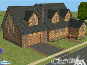Sims 2 — Log Cabin on the Lake by Chrmd — A beautiful rural cabin with an attached garage. In the yard is a lake with a