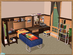 Sims 2 — EGE Young Room by cemre — Teen bedroom set with combined objects, books, games, blue jeans, wall panels