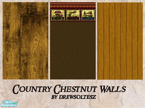 Sims 2 — Country Chestnut Wall Coverings by drewsoltesz — A set of three different, rustic western themed wall coverings,