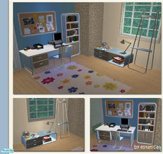 Sims 2 — Dilbert Modern Office - Blue Recolour by estatica — A blue recolour of the Dilbert Modern Office for your