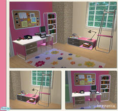 Sims 2 — Dilbert Modern Office - Pink Recolour by estatica — A pink recolour of the Dilbert Modern Office for your