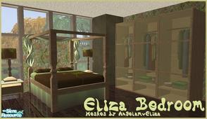 Sims 2 — Eliza Bedroom by Angela — New wooden Bedroom with Green and Brown accent colours.