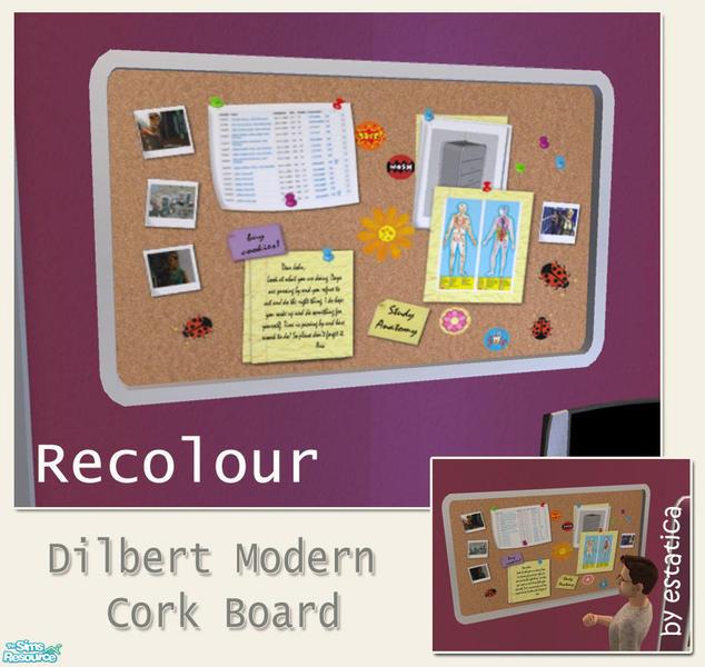 Estatica 39 s dilbert modern cork board pink recolour for Modern cork board