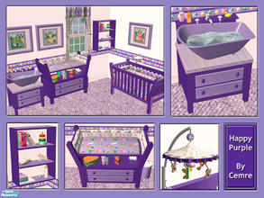 Sims 2 — Happy Purple Nursery Set by cemre — This set includes new mesh recolors. Some objects need mesh files on my