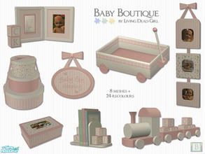Sims 2 — Baby Boutique by Living Dead Girl — Nursery decor that includes photo frame with alphabet blocks, train, layette