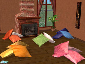 Sims 2 — Mix and Match Decorative Floor Cushions by cemre — Therapeutically squishable! You just have to squeeze them to
