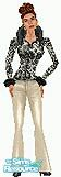 Sims 1 — Black Creme by TSR Archive — Fur trim jacket with fitted flares. Head not included. Skin comes in all three