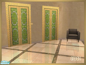 Sims 2 — Arabesque inspired elevator recolors - green by senemm — A set of 6 arabesque inspired elevator recolors in