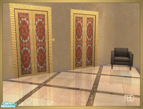 Sims 2 — Arabesque inspired elevator recolors - red by senemm — A set of 6 arabesque inspired elevator recolors in blue,