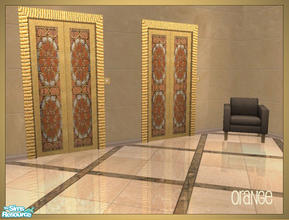 Sims 2 — Arabesque inspired elevator recolors - orange by senemm — A set of 6 arabesque inspired elevator recolors in