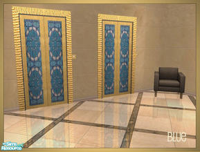 Sims 2 — Arabesque inspired elevator recolors - blue by senemm — A set of 6 arabesque inspired elevator recolors in blue,