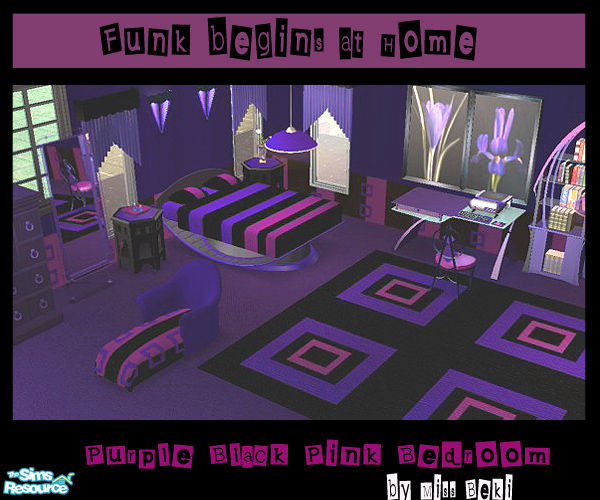 Miss Beki S Purple Pink Black Bedroom Set