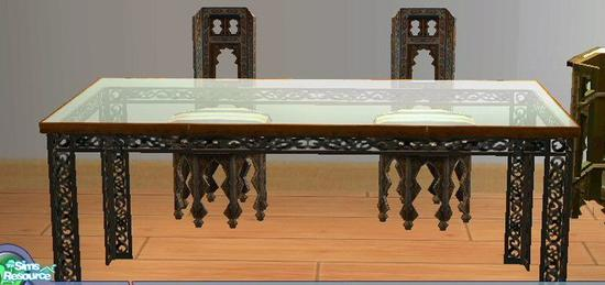- SSilver's Moroccan Glass Top Dining Table