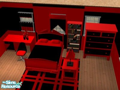 black and red bedroom set