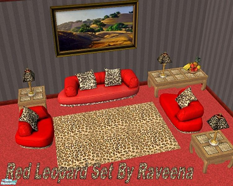 Elegant Red Leopard Living Room