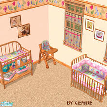 Sims 2 — Baby Quilt Set by cemre — Quilt style used in fabrics and ligt colored wood used in frames and wall borders.