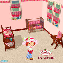 Sims 2 — Strawberry Shortcake Toddler Room Set by cemre — Strawberry Shortcake theme used in fabrics and red wood used in
