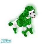 Sims 1 — Xmas Green by TSR Archive — A white poodle all bundled up for the cold winter weather and is waiting patiently