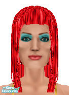 Sims 1 — Make-up Girl by Annual — A pretty girl with red hair, blue eyeshadow and blue eyes. You can also see her red