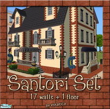 Sims 2 — Santori Set by estatica — Perfect for downtown lots, this set matches Maxis content perfectly. Includes 17 brick