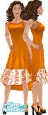 Sims 1 — Leah by TSR Archive — Fashionable Orange dress with double layered front lace ruffle. Head not included. Skin