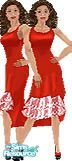 Sims 1 — Jessica by TSR Archive — Fashionable red dress with double layered front lace ruffle. Head not included. Skin