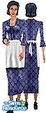 Sims 1 — Dear ole Mom by TSR Archive — Dear ole Mom, in her best navy dress, crisp white apron and black oxfords. Shoe