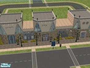 Sims 2 — Rocky City Row by KatieKing — A set of 4 shops including a pet store, grocery, restaurant, and a clothing