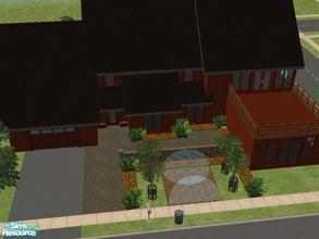 Sims 2 — Rosewood by KatieKing — House has 2 balconies, kitchen, dining, living space, office space and a garden.