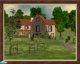 Sims 2 — The Mendocino - Furnished by Pinecat — <B>This beautiful Tuscan style farmhouse sits on a hill overlooking