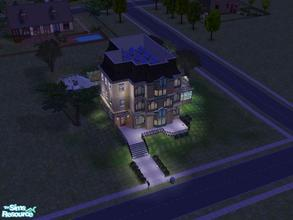 Sims 2 — Art Deco Mansion by manuke — Large 3 story art deco house with brick conservitory, 2 reception rooms, 5 bed